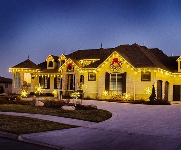 House with professional holiday lighting in Idaho Falls