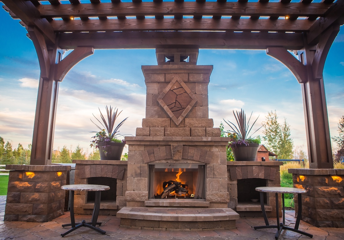 Outdoor fireplace in Pocatello Idaho designed by Outback Landscape