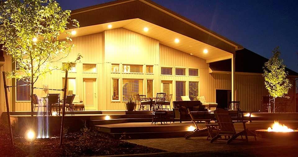 Landscape lighting in backyard